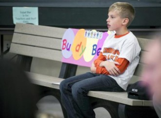 Buddy bench at Roundtown Elementary to help foster friendships